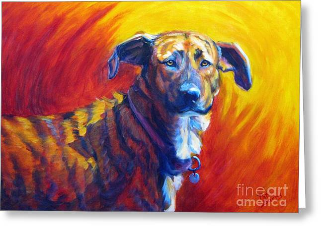 Bully Paintings Greeting Cards - Trixie Greeting Card by Pat Burns