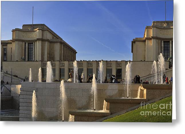 Trocadero Greeting Cards - Trocadero and the Palais de Chaillot in Paris Greeting Card by Louise Heusinkveld