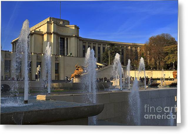 Trocadero Greeting Cards - Trocadero fountains in Paris Greeting Card by Louise Heusinkveld