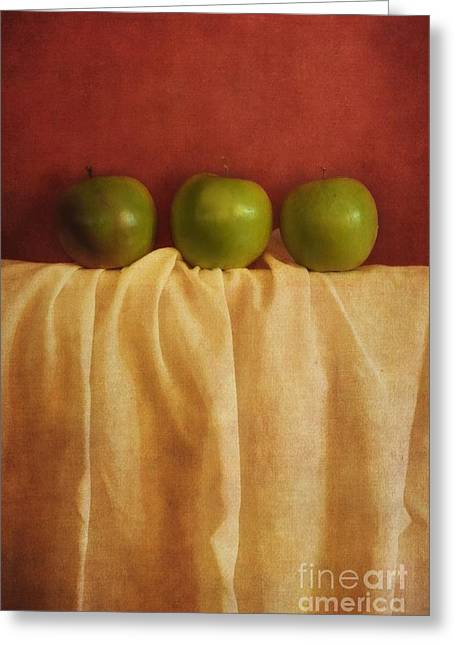Dark Red Greeting Cards - Trois Pommes Greeting Card by Priska Wettstein