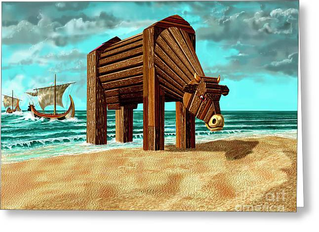 Russell Kightley Digital Greeting Cards - Trojan Cow Greeting Card by Russell Kightley
