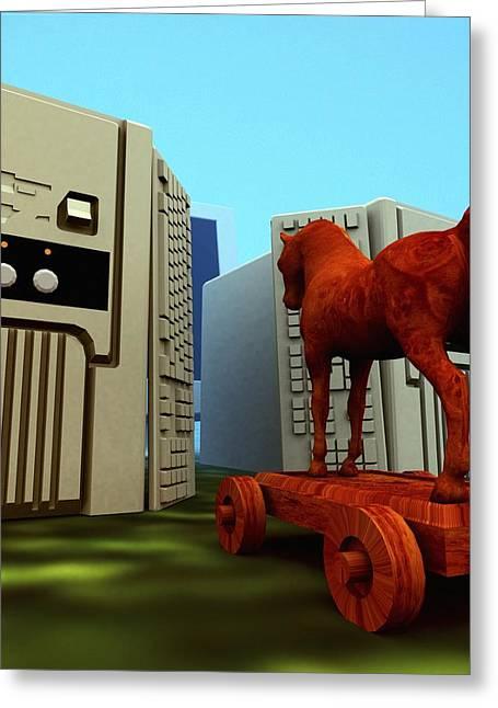 Wooden Sculpture Greeting Cards - Trojan Horse, Computer Artwork Greeting Card by Christian Darkin