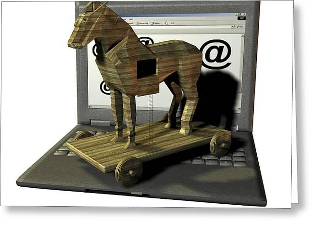 Wooden Sculpture Greeting Cards - Trojan Horse, Computer Artwork Greeting Card by Friedrich Saurer