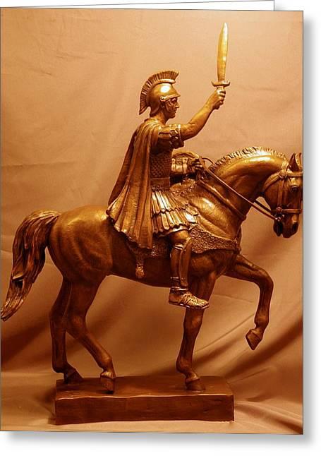 Custom Sculptures Greeting Cards - Trojan Warrior Mascot Statue Bronze Sculpture Greeting Card by Kim Corpany