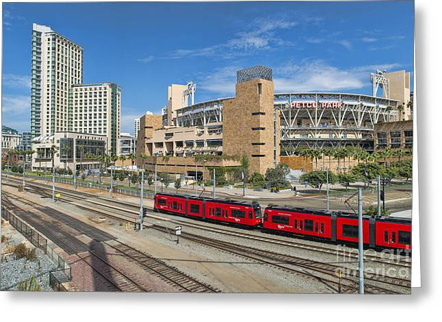 Petco Park Photographs Greeting Cards - Trolley To Petco Park Greeting Card by Alan Crosthwaite