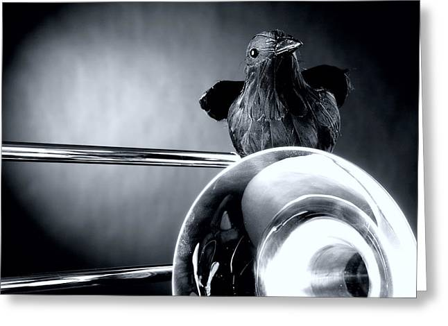 Crow. Bird Music Greeting Cards - Trombone and Crow Bird Greeting Card by M K  Miller