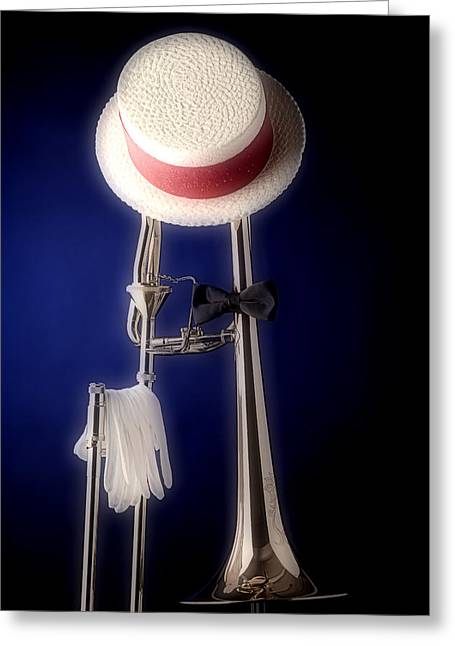 Slide Prints Greeting Cards - Trombone Hat Bow Tie Greeting Card by M K  Miller