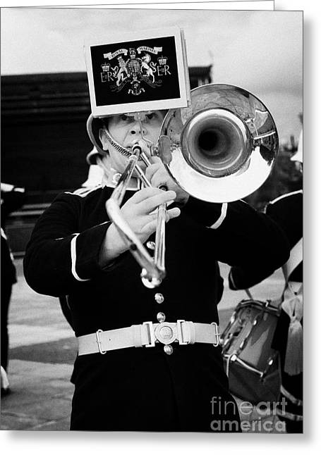 Marching Band Greeting Cards - trombone player of the band of HM Royal Marines Scotland at Armed Forces Day 2010 Greeting Card by Joe Fox
