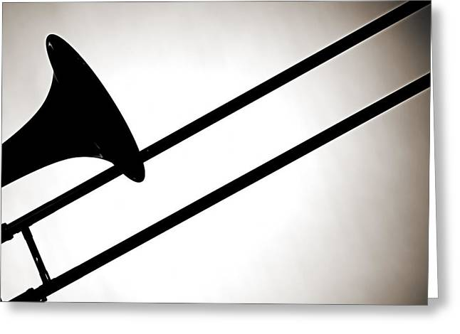 Canvas Wrap Greeting Cards - Trombone Silhouette Isolated Greeting Card by M K  Miller