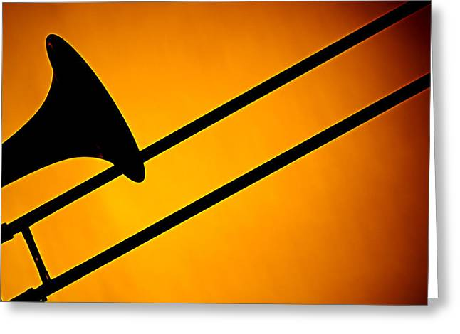 Slide Prints Greeting Cards - Trombone Silhouette On Gold Greeting Card by M K  Miller
