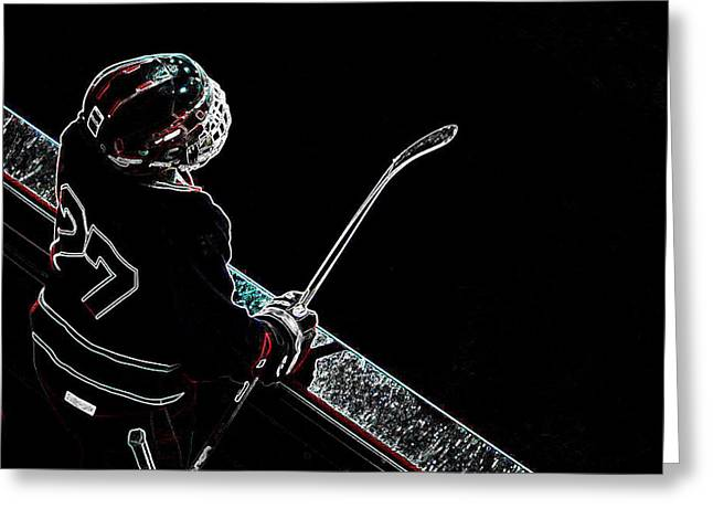 Tron Greeting Cards - Tron Hockey - 1 Greeting Card by Tya Kottler