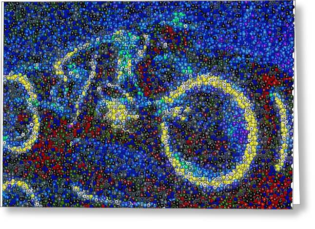 Best Sellers -  - Tron Greeting Cards - Tron Light Cycle Skittles Mosaic Greeting Card by Paul Van Scott