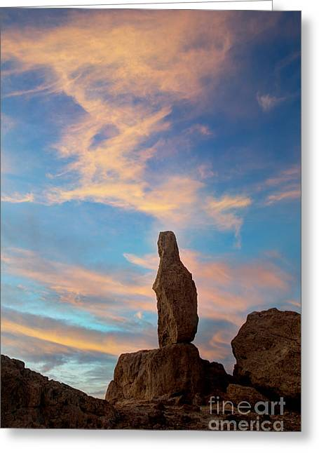 Trekkie Greeting Cards - Trona Sentinal  at sunset. Greeting Card by Bob Christopher