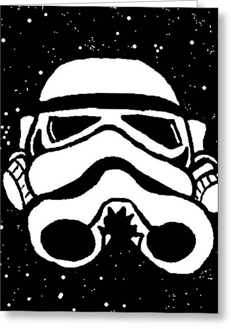 Toon Greeting Cards - Trooper on Starry Sky Greeting Card by Jera Sky