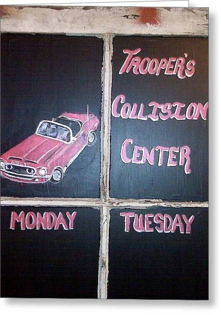 Transportation Glass Greeting Cards - Troopers Collision Greeting Card by Regina McLeroy