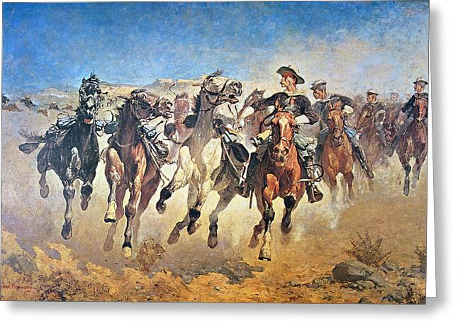 Hoofs Greeting Cards - Troopers Moving Greeting Card by Frederic Remington