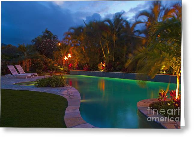 Lawn Chair Greeting Cards - Tropical Backyard Pool at Night Greeting Card by Inti St. Clair