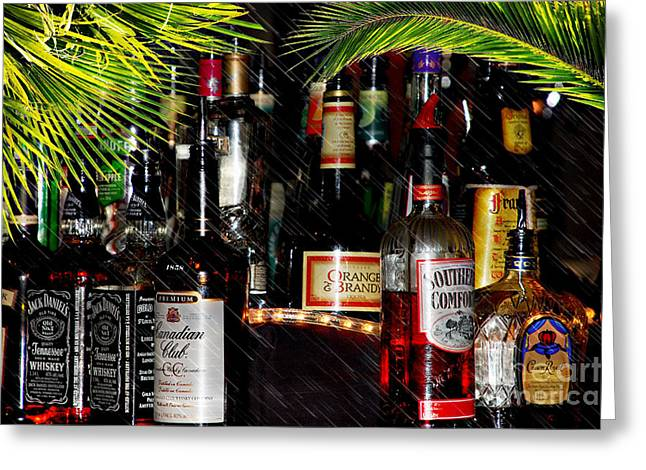 Booze Mixed Media Greeting Cards - Tropical Bar Greeting Card by Elaine Manley