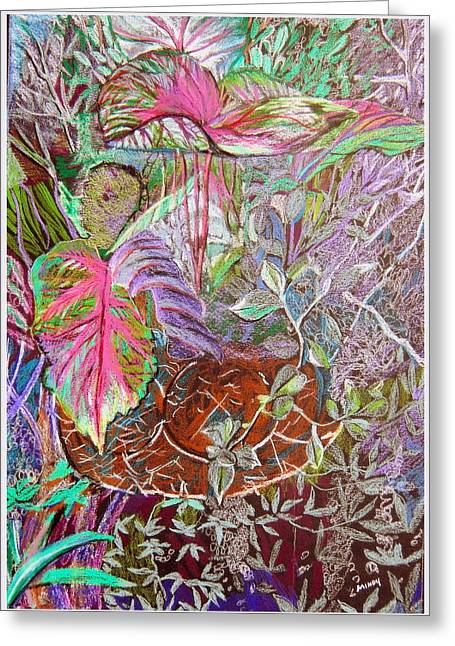 Vine Leaves Mixed Media Greeting Cards - Tropical Basket Greeting Card by Mindy Newman