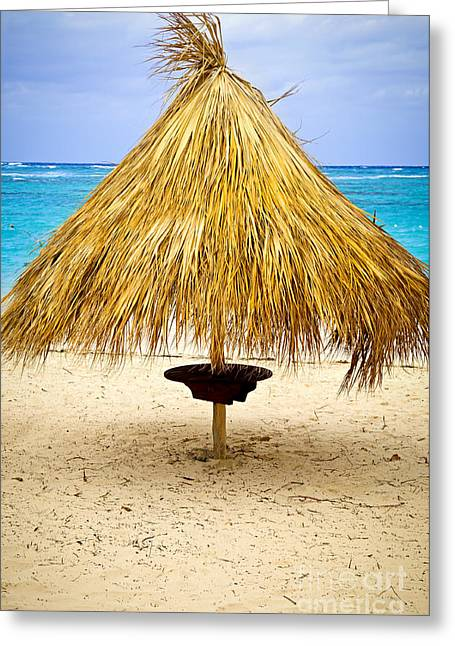 Shade Greeting Cards - Tropical beach umbrella Greeting Card by Elena Elisseeva