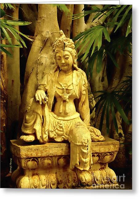 Hindu Goddess Photographs Greeting Cards - Tropical Buddha Greeting Card by Cheryl Young