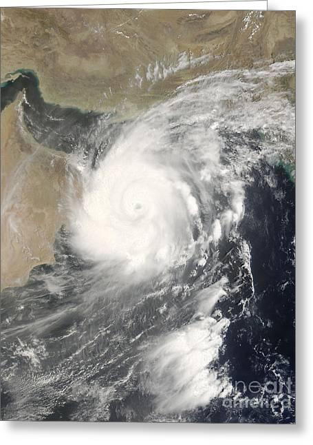 Arabian Sea Greeting Cards - Tropical Cyclone Gonu In The Arabian Greeting Card by Stocktrek Images