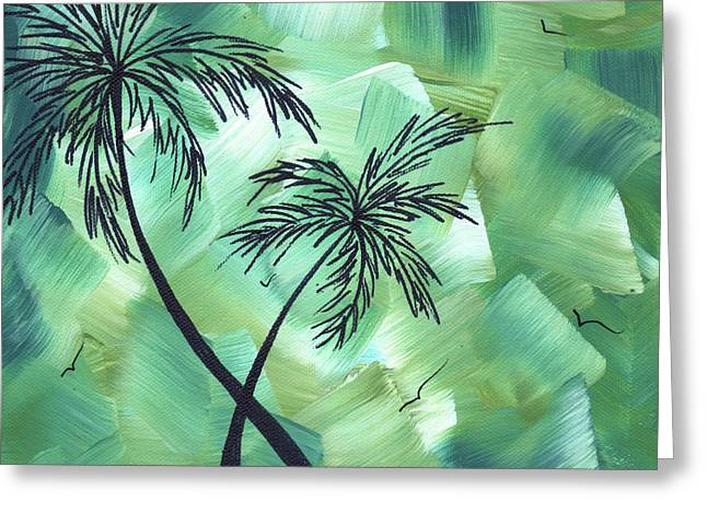 Bamboo Wall Greeting Cards - Tropical Dance 3 by MADART Greeting Card by Megan Duncanson