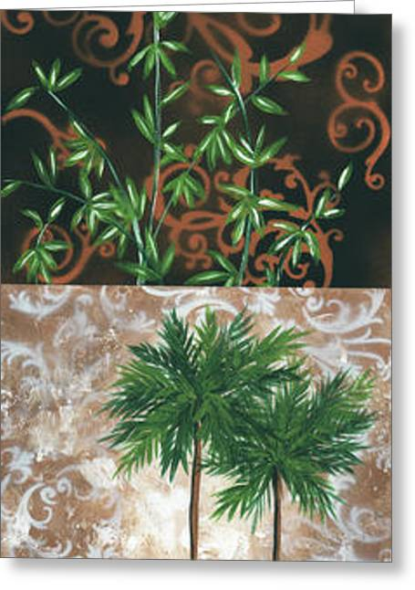 Bamboo Wall Greeting Cards - Tropical Dance rectangle by MADART Greeting Card by Megan Duncanson