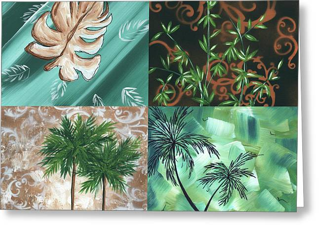 Bamboo Wall Greeting Cards - Tropical Dance Square by MADART Greeting Card by Megan Duncanson