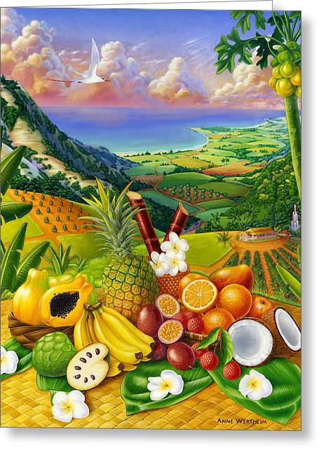Passion Fruit Greeting Cards - Tropical Fruit Medley Greeting Card by Anne Wertheim