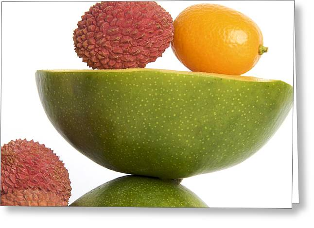 Lychee Greeting Cards - Tropical fruits Greeting Card by Bernard Jaubert