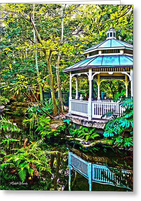 Lush Green Digital Greeting Cards - Tropical Gazebo Greeting Card by Michelle Wiarda