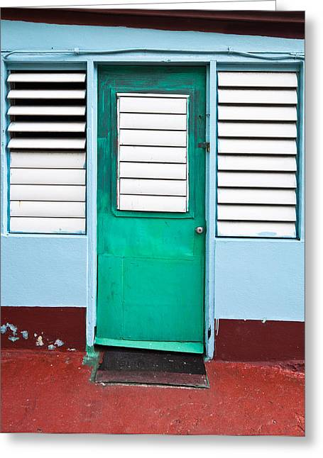 Louver Greeting Cards - Tropical green door with louvers in the Caribbean Greeting Card by Anya Brewley schultheiss