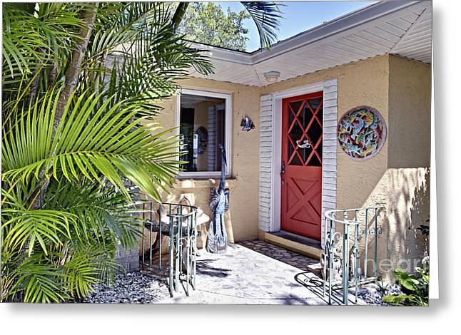Backdoor Greeting Cards - Tropical Home Backdoor Greeting Card by Skip Nall
