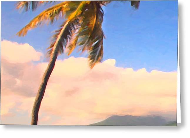 Tropical Island 2 - Painterly Greeting Card by Wingsdomain Art and Photography