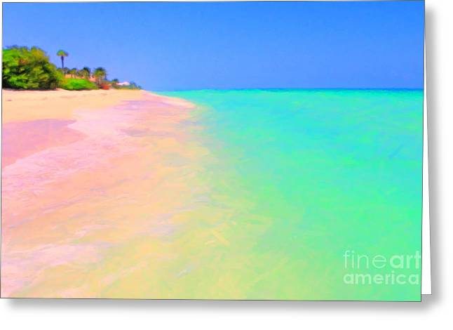 Tropical Island 7 - Painterly Greeting Card by Wingsdomain Art and Photography