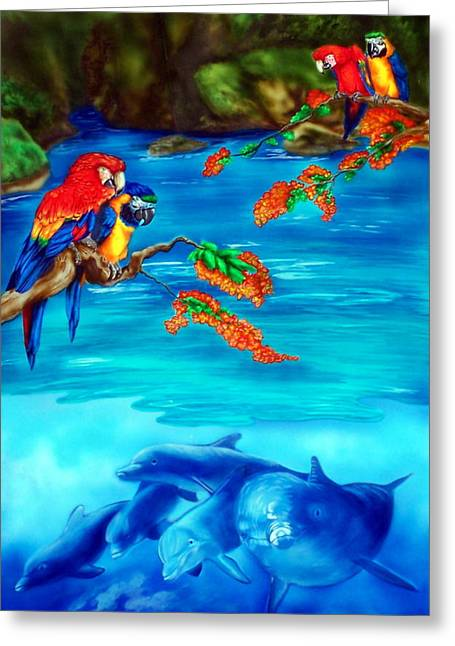 Aquatic Bird Greeting Cards - Tropical Lagoon Greeting Card by Kathleen Kelly Thompson