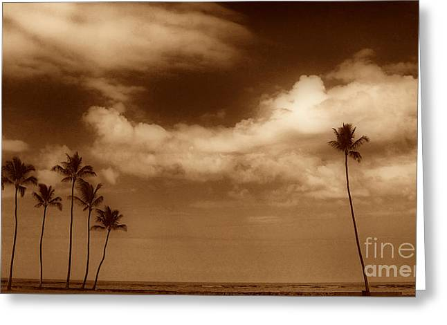 Deli Greeting Cards - Tropical Mood Sepia Greeting Card by Cheryl Young