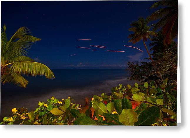 Rincon Beach Photographs Greeting Cards - Tropical Night Greeting Card by Tim  Fitzwater