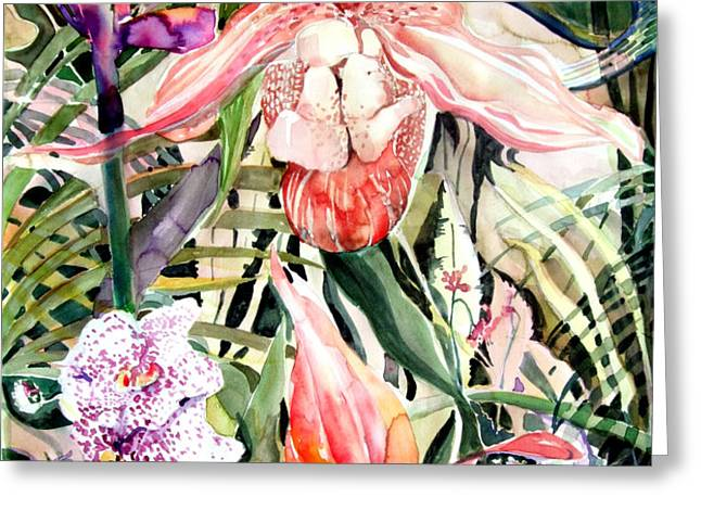 Tropical Orchids Greeting Card by Mindy Newman