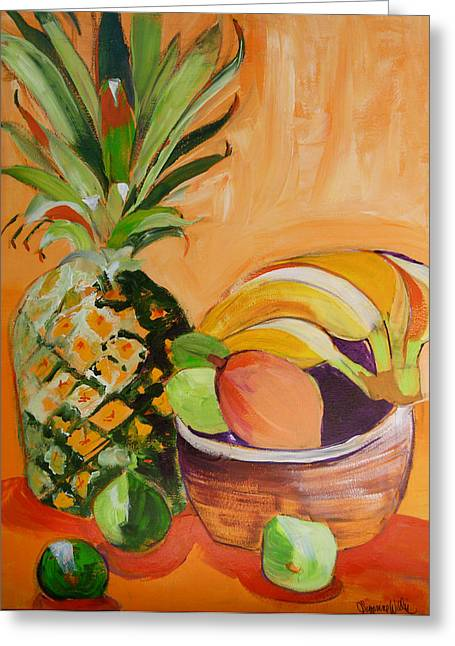 Suzanne Willis Greeting Cards - Tropical Pineapple Greeting Card by Suzanne Willis