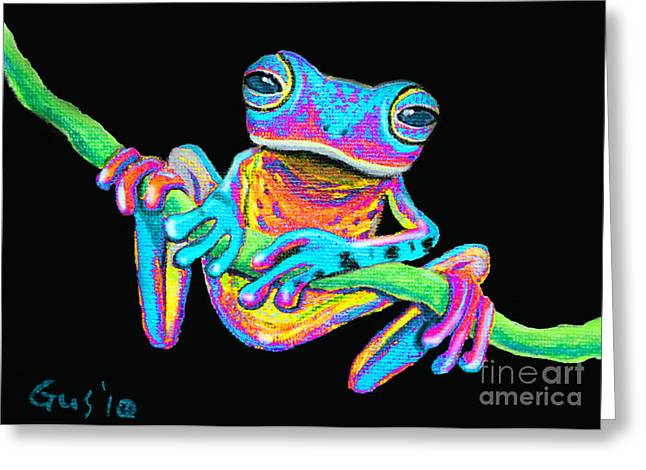 Forerst Greeting Cards - Tropical Rainbow frog on a vine Greeting Card by Nick Gustafson