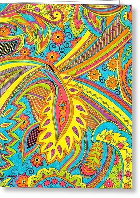 Spectrum Drawings Greeting Cards - Tropical sizzle Greeting Card by Ramneek Narang