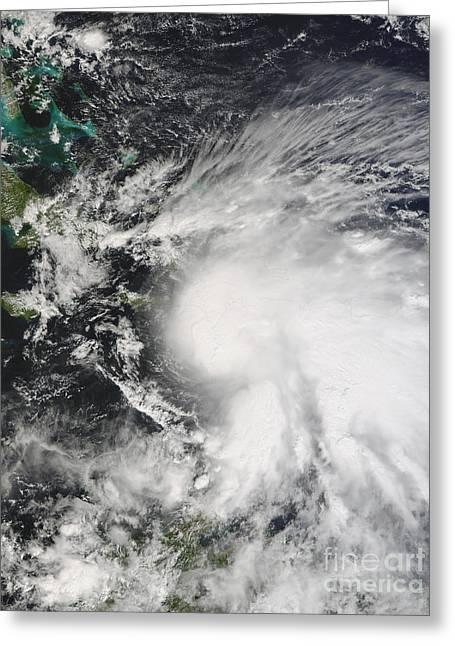 Hurricane Noel Greeting Cards - Tropical Storm Noel Over Haiti Greeting Card by Stocktrek Images