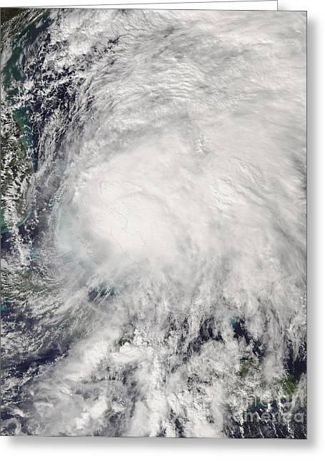 Hurricane Noel Greeting Cards - Tropical Storm Noel Over The Bahamas Greeting Card by Stocktrek Images
