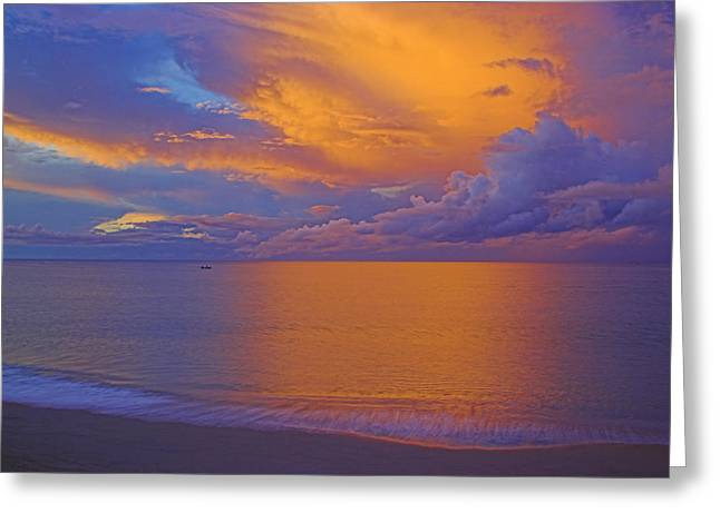 Tropical Sunset-2- St Lucia Greeting Card by Chester Williams