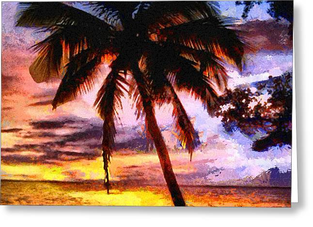 Caruso Greeting Cards - Tropical Sunset Greeting Card by Anthony Caruso