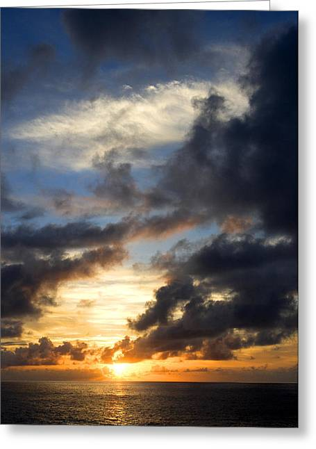 Tropical Oceans Greeting Cards - Tropical Sunset Greeting Card by Fabrizio Troiani