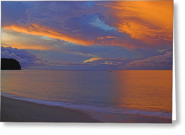 Tropical Sunset- St Lucia Greeting Card by Chester Williams