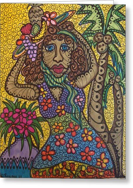 South Pacific Drawings Greeting Cards - Tropical Tina Greeting Card by Gerri Rowan